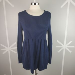 NWOT Navy Blue Ribbed Knit Baby Doll Sweater 14/16